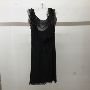 Black tank dress with sheer fluffy sleeves